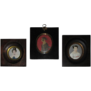 Group of Three Regency Period Miniature Portraits of Ladies