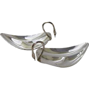 Pair of Mexican Sterling Silver Swan Form Bowls by Tane