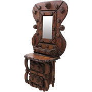 Tramp Art Vanity Chest of Drawers with Mirror