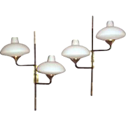 Pair of Italian 2 Arm Sconces by Stilnovo