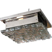 """Ice"" Glass and Chrome Square Flush Mount Ceiling Light"