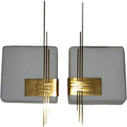 Pair of Mid Century White Glass Wall Lights with Gold Plated Embellishment