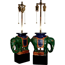 Pair of Vintage Chinese Porcelain Royal Elephants as Table Lamps