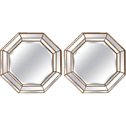 Pair of Large Gilt Frame Octagonal Mirrors