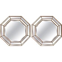 Pair of Large Gilt Frame Octagonal Mirrors