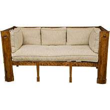 Stately Tiger Maple Biedermeier Sofa
