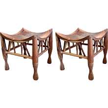 Pair of Artisan Crafted Wood and Hammered Copper Stools