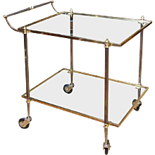 Elegant French Mid Century Brass Bar Cart