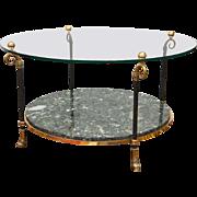 Maison Jansen Style Brass & Marble Cocktail Table