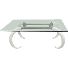 1970s Brass, Glass and Faux Tusk Dining Table