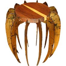 """Artisan Crafted Gilt Metal and Wood """"Spider"""" Side Table"""