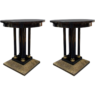 Pair of Austrian Secessionist Period Pedestal Side Tables
