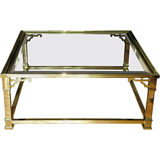 Vintage Mastercraft Polished Brass & Beveled Glass Coffee Table