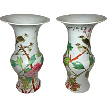 Pair of Chinese Qing Dynasty Porcelain Temple Vases