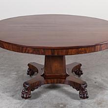 Antique American Empire Mahogany Pedestal Dining Table circa 1825