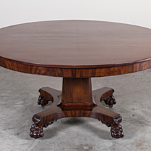 Antique American Empire Mahogany Pedestal Dining Table circa 1825