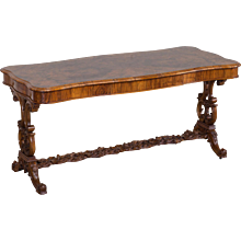 Antique English Burl Walnut Table with Drawer circa 1880