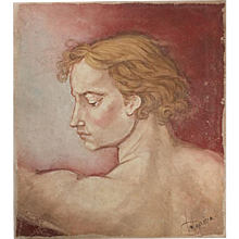 Vintage Portrait of an Italian Renaissance Florentine Youth circa 1960
