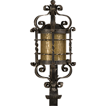 Vintage French Forged Iron Wall Lantern, Glass Shade, circa 1940