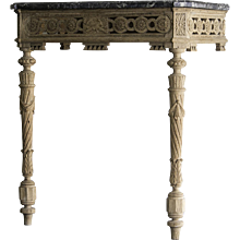 Antique French Louis XVI Period Neoclassical Carved Oak Console Table, Marble Top, circa 1790