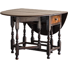 English Oak Drop Leaf Table with Drawer circa 1790