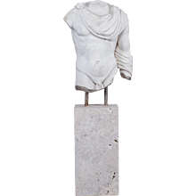 Italian Marble Torso of a Youth Mounted on a Marble Base circa 2000