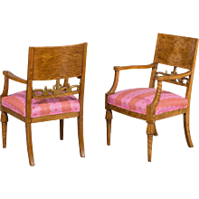 Pair Antique Swedish Baltic Biedermeier Birchwood Armchairs circa 1840