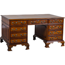 George III Style Burl Walnut Partners Desk Handmade in England