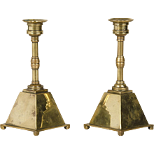 Pair of Arts and Crafts Period Antique English Brass Candlesticks circa 1885