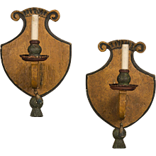 Pair of Antique Italian Single Arm Wooden Sconces circa 1870 Original Painted Finish