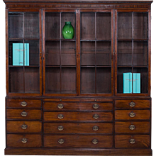 Antique English George III Mahogany Bookcase Display Cabinet circa 1780