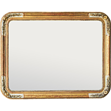 Louis Philippe Style Antique French Gold Leaf Mirror, Curved Corners circa 1890