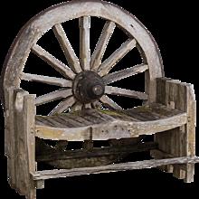 Antique French Wagon Wheel Large Garden Bench circa 1880