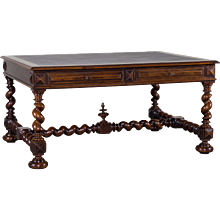 Antique French Henri II Walnut Partners Table Desk circa 1880