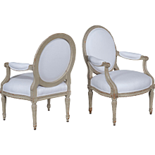 Pair Antique French Louis XVI Style Painted Armchairs circa 1880