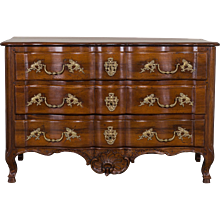 Antique French Louis XV Walnut Chest of Drawers, Arbalette Front circa 1765