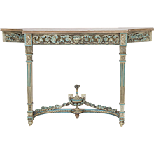 Antique French Louis XVI Neoclassical Painted Console Table circa 1890