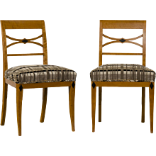 Pair of Antique Austrian Biedermeier Period Birchwood Side Chairs, Ebonized Timber Detail, circa 1830