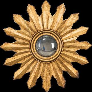 """Antique Italian Starburst Convex Gold Leaf Mirror circa 1880 (42"""" diameter)"""