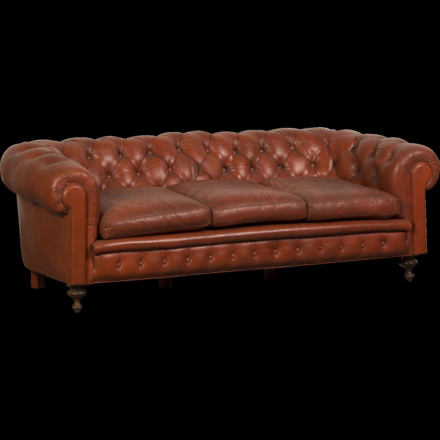 Antique Sofa Houston: Edwardian Period Vintage English Chesterfield Leather Sofa