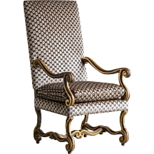 Gilded, Painted Os de Mouton Antique French Louis XIII Style Armchair circa 1875