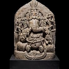 A Stone Sculpture of Ganesh, Hoysala Dynasty, 11th century, Karnataka, South India