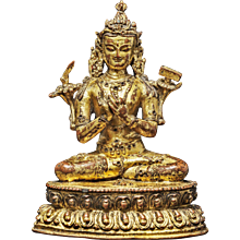 A gilt bronze figure of Manjushri, Nepal, circa 15th century