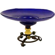 Glass Tazza with Iron Foot and Glass Cherries