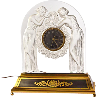 Art Deco Glass Clock by Rene Lalique