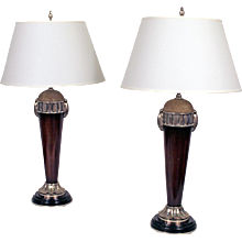 Pair of Art Deco Rosewood and Shagreen Table Lamps