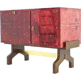 Aldo Tura Red Goatskin Sideboard with Bar and Refrigerator, Italy, 1968