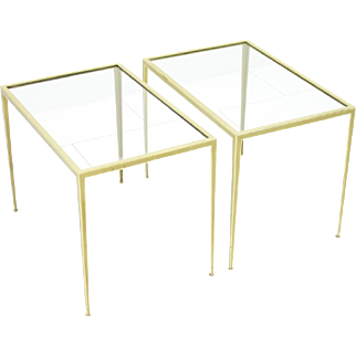 Pair of Brass and Glass Side Tables by Vereinigte Werkstätten, Germany 1960s