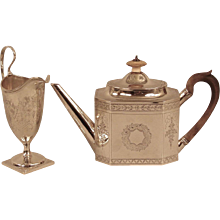 English George III Sterling Teapot and Creamer