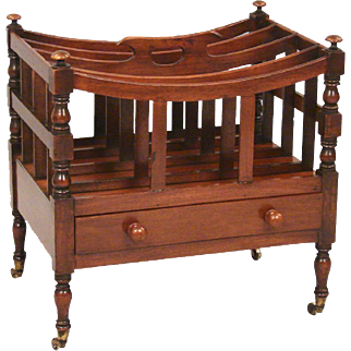 Regency Mahogany 4 Section Canterbury With Drawer and Carrying Handle